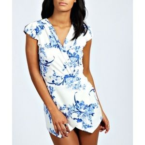 Blue and white floral romper
